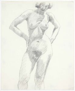 1969 Standing Female Pencil on Paper 17 x 14