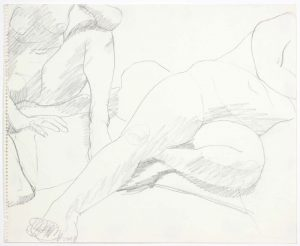 1969 Two Female Models in Studio Pencil on Paper 14 x 17