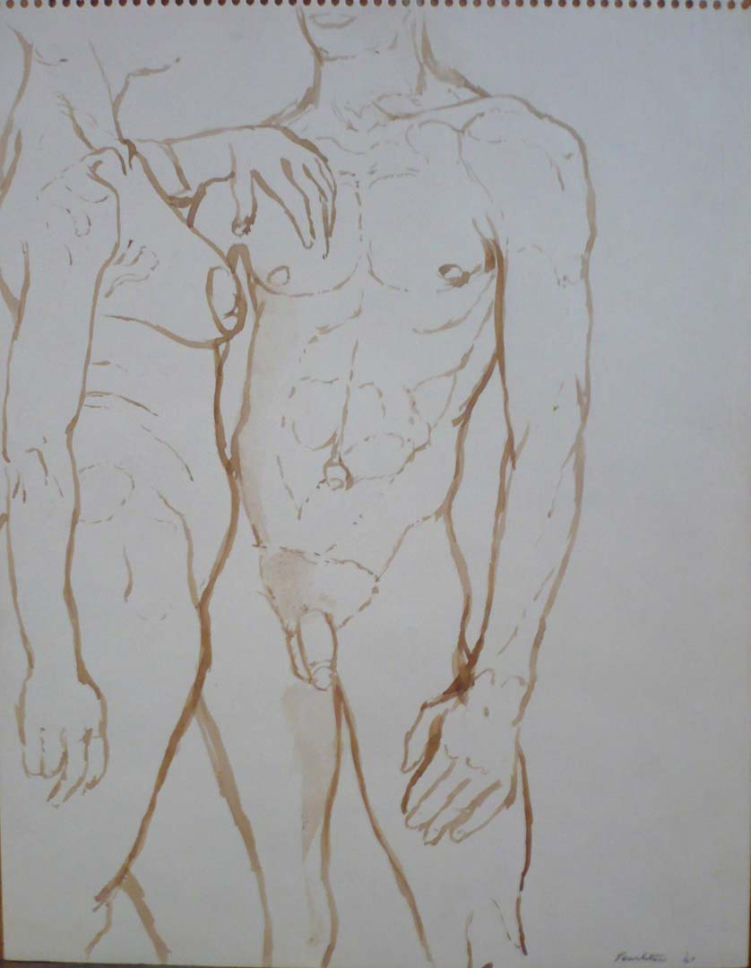 1961 Female and Male Nudes Facing Each Other Sepia on Paper 13.875 x 10.875