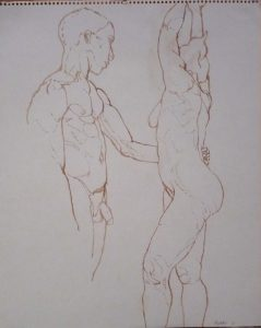 1961 Male Model with Arm on Female Model's Waist Sepia on Paper 17 x 14