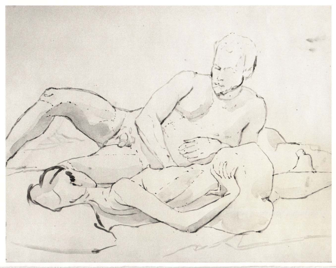 1961 Reclining Male and Female Models Wash on Paper 10.75 x 13.75