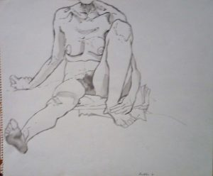 1961 Seated Model in Studio Wash on Paper 14 x 17