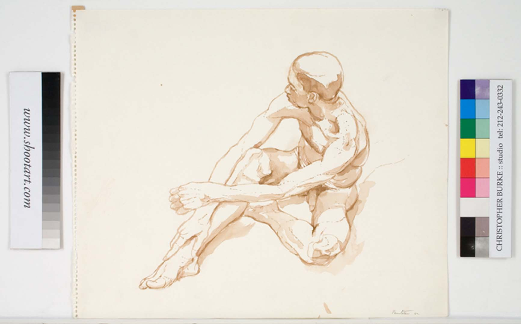 1962 Male Model Seated on Floor Sepia Wash 13.875 x 16.875