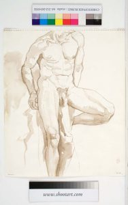 1962 Male Nude Seated on Stool Sepia Wash 17 x 13.875