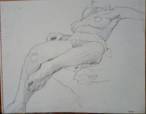 1962 Reclining Female Model Pencil 11 x 14
