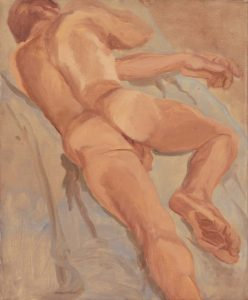 1962 Reclining Male Oil on Canvas 17 x 14