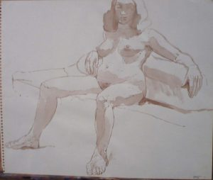 1962 Seated Female Model Sepia 14 x 17