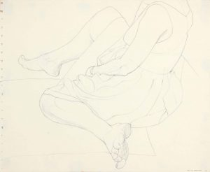 1962 Seated Model in Dress Pencil 13.875 x 16.75