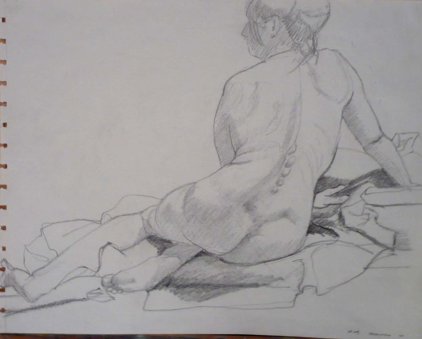 1963 Back of Seated Female Pencil 10.75 x 13.75