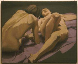 1963 Female Nudes on Floor Oil on Canvas 36 x 44