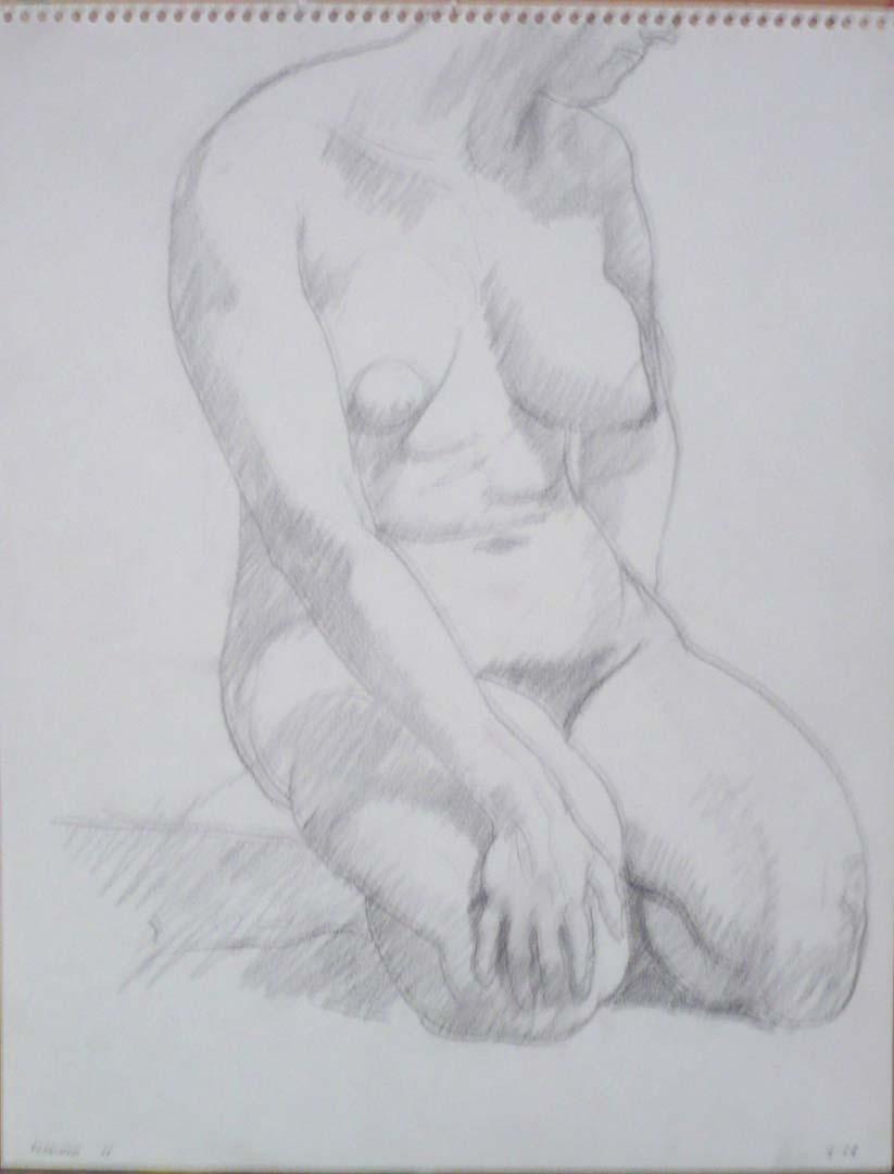 1963 Kneeling Figure Pencil 14 x 11
