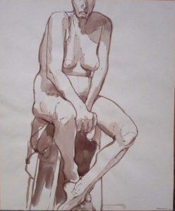 1963 Nude Seated on Stool Sepia 16.625 x 13.875