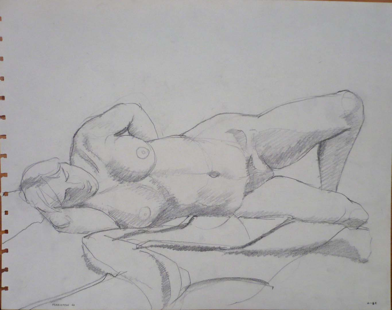 1963 Reclined Female Model on Drape Pencil 10.75 x 13.75