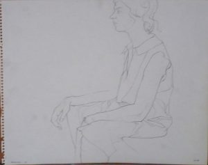 1963 Seated Model Wearing a Dress Pencil 11 x 14