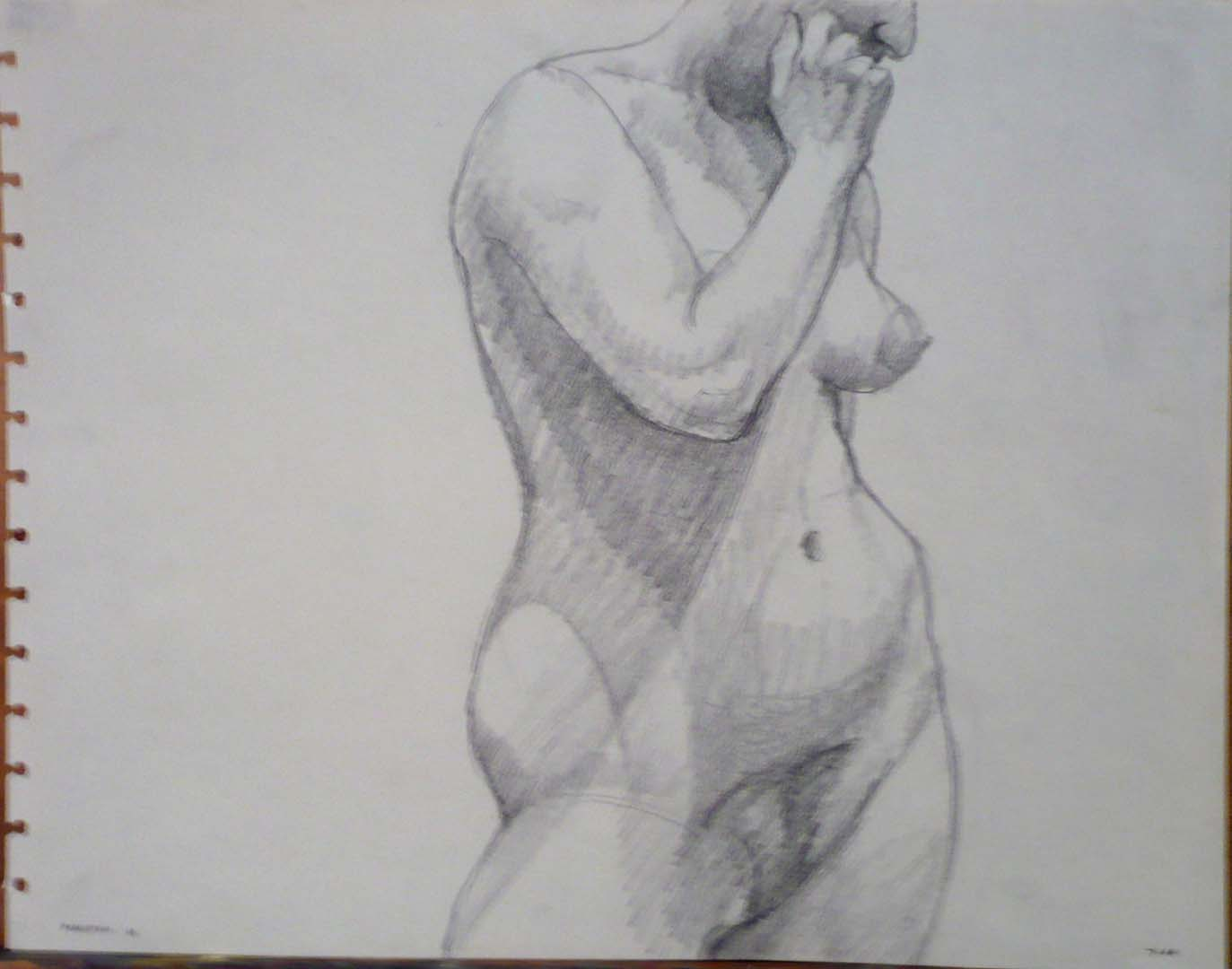 1963 Standing Female Model with Hand on Face Pencil 10.75 x 13.75