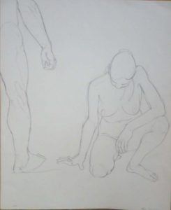 1963 Standing Male and Kneeling Female Pencil 16.625 x 13.625
