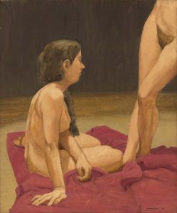 1963 Two Nudes with Red Drape Oil on Canvas 17 x 14
