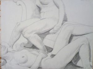 1963 Two female Nudes with Victorian Sofa Pencil 18 x 24