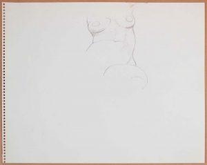 1965 Female Model (Partial) Graphite 13.75 x 17