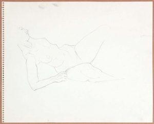1965 Reclining Female Model (Partial) Graphite 13.75 x 17
