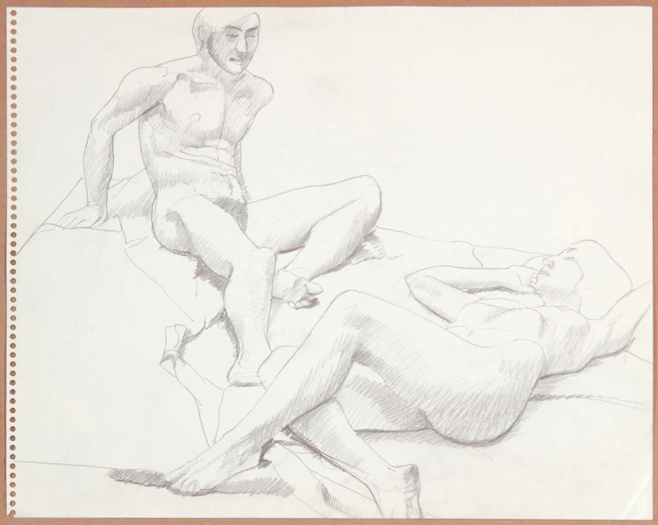 1965 Reclining Male Model and Reclined Female Model Graphite 13.75 x 17