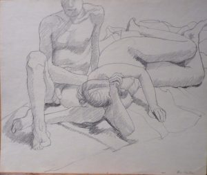 1964 Female Model's Head resting on Leg of Seated Male Model Pencil 13.875 x 16.625