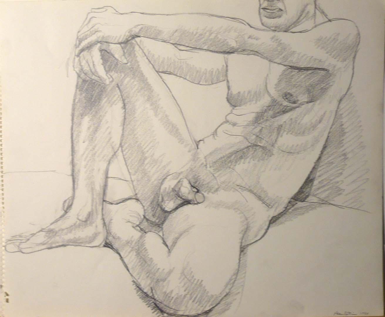 1964 Male Model reclining Pencil 14 x 17