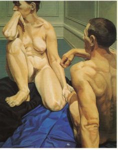 1964 Male and Female Models Sitting on the Floor Oil on Canvas 60.5 x 48