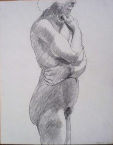 1964 Model with Arms Wrapped Around Body Pencil 13.75 x 11