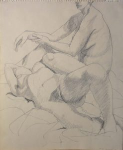 1964 Study for Oil Painting - Two Female Models Pencil Dimensions Unknown