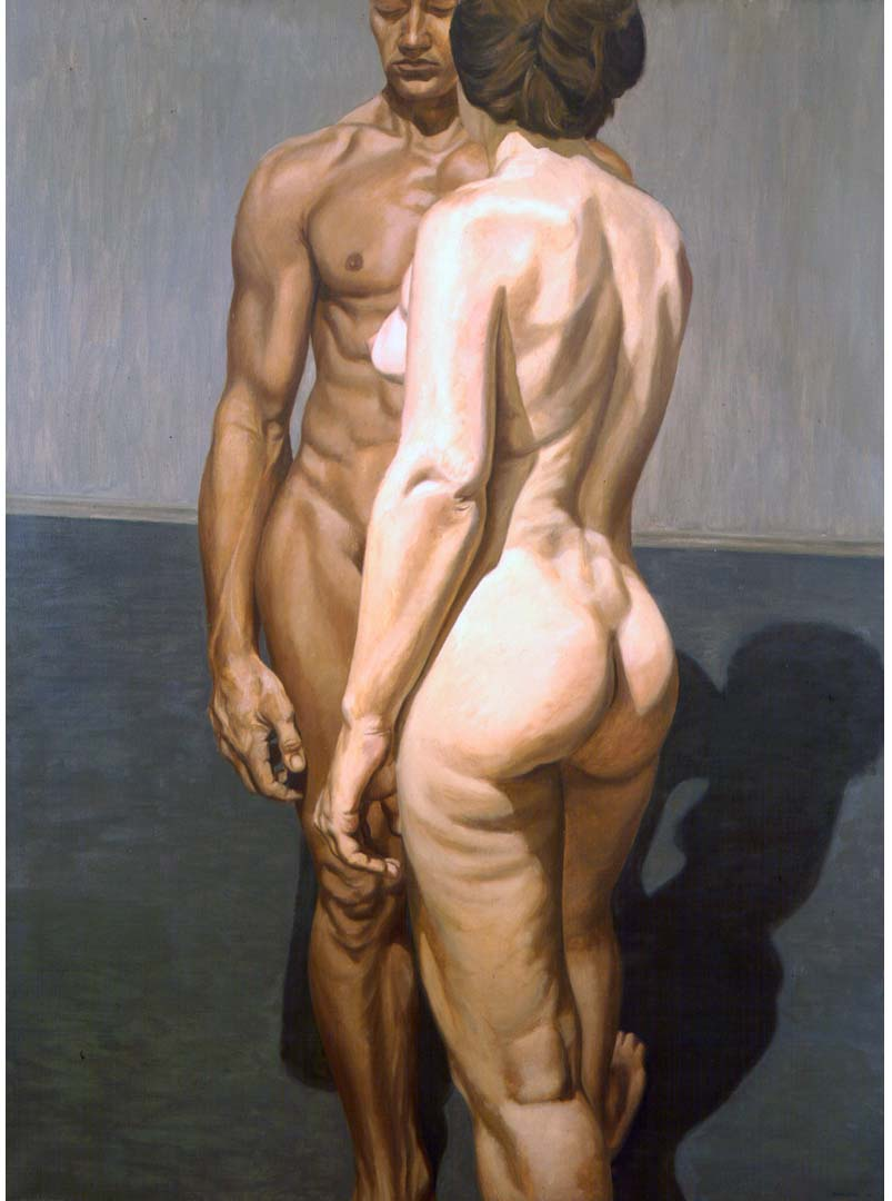1964 Two Standing Models Oil