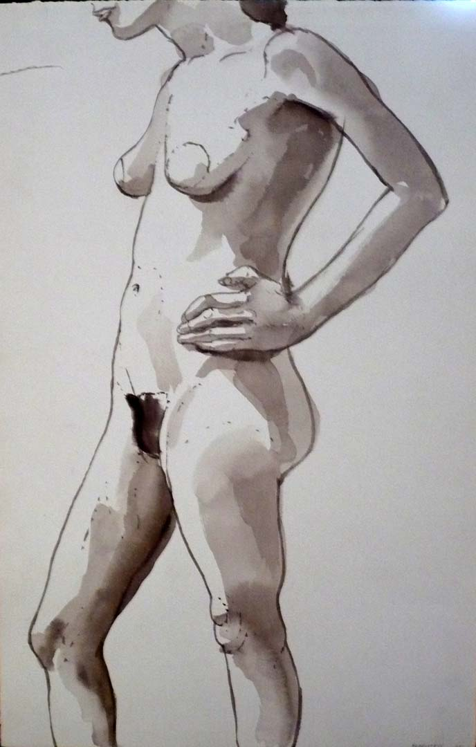 1965 Female Nude with Hand on Hip Black Wash 20.875 x 18.625