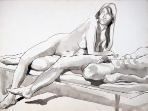1965 Male and Female Reclining on Platform Ink 22.25 x 30