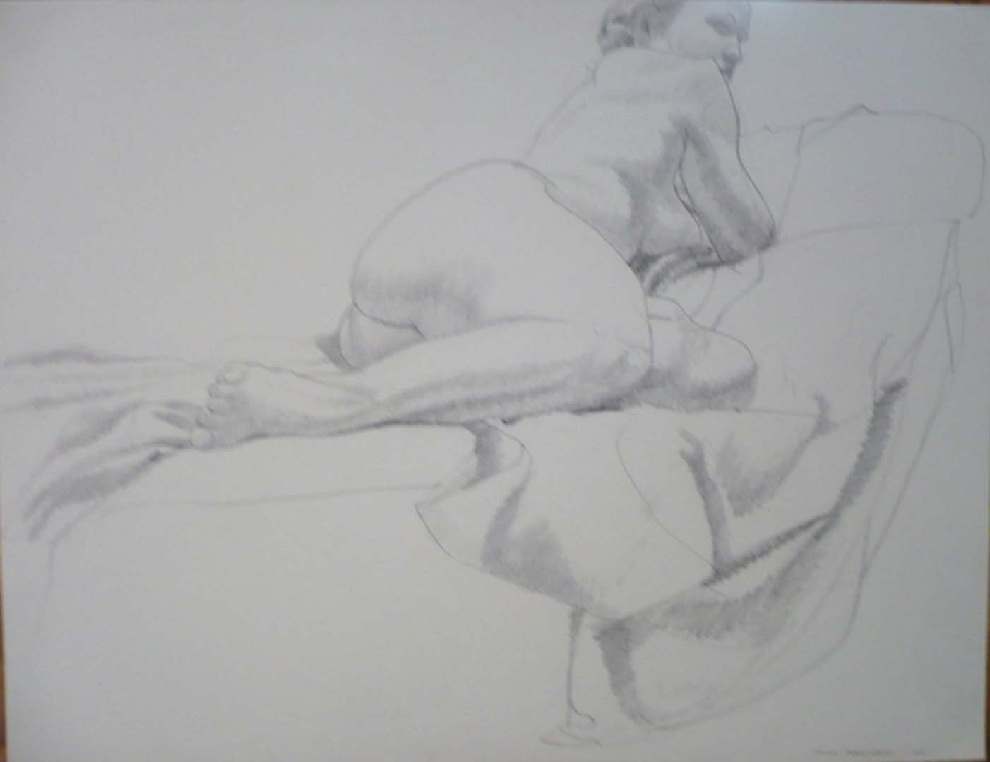 1966 Female Model Reclining on Drape Pencil 20 x 26