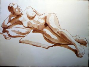 1966 Female Nude Seated in Front of Male Nude Sepia Wash 22 x 30
