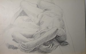 1966 Model Lying on Floor with Arms Overhead Pencil 14 x 22