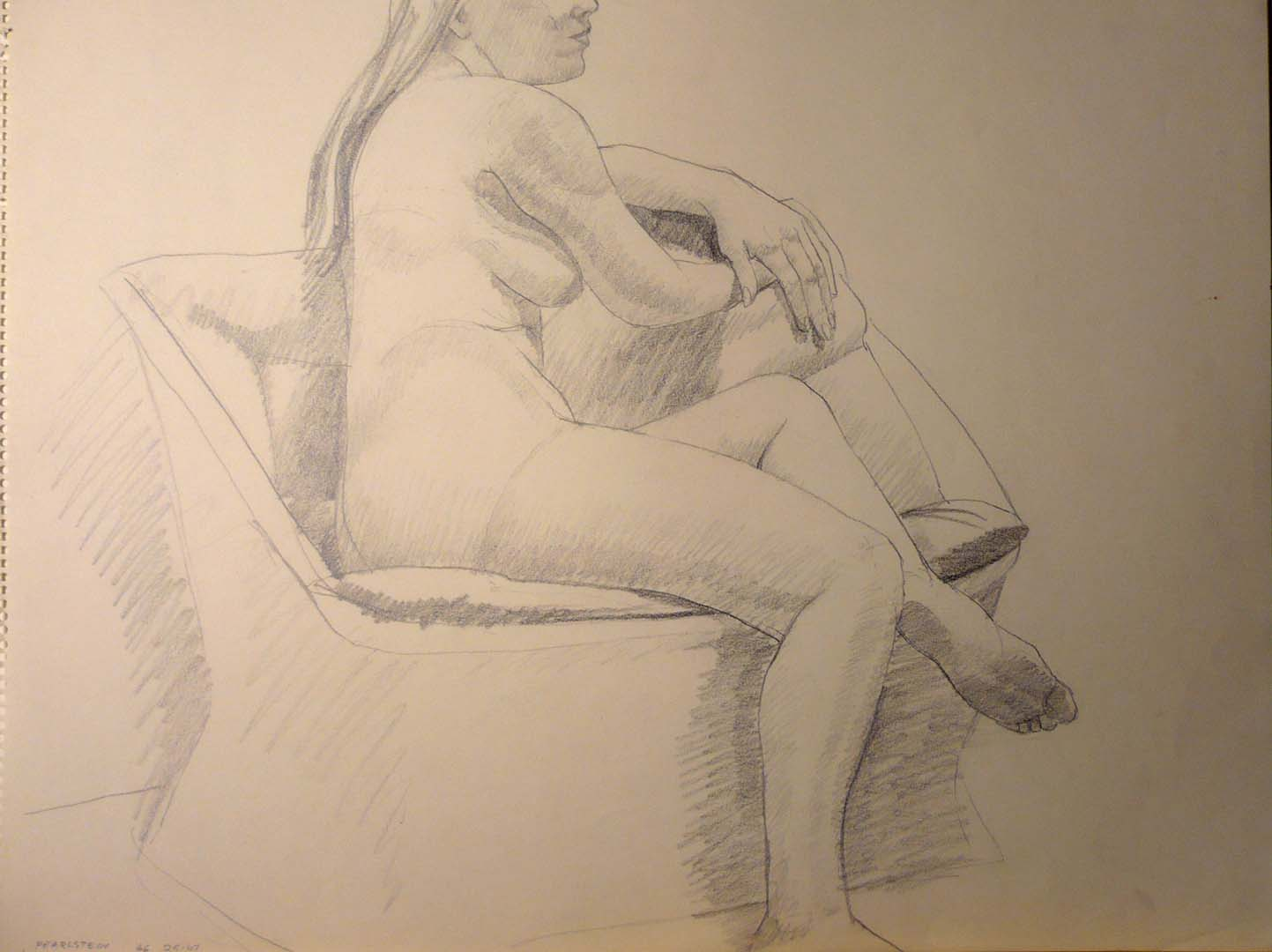1966 Model Rested on Chair Pencil 18 x 24