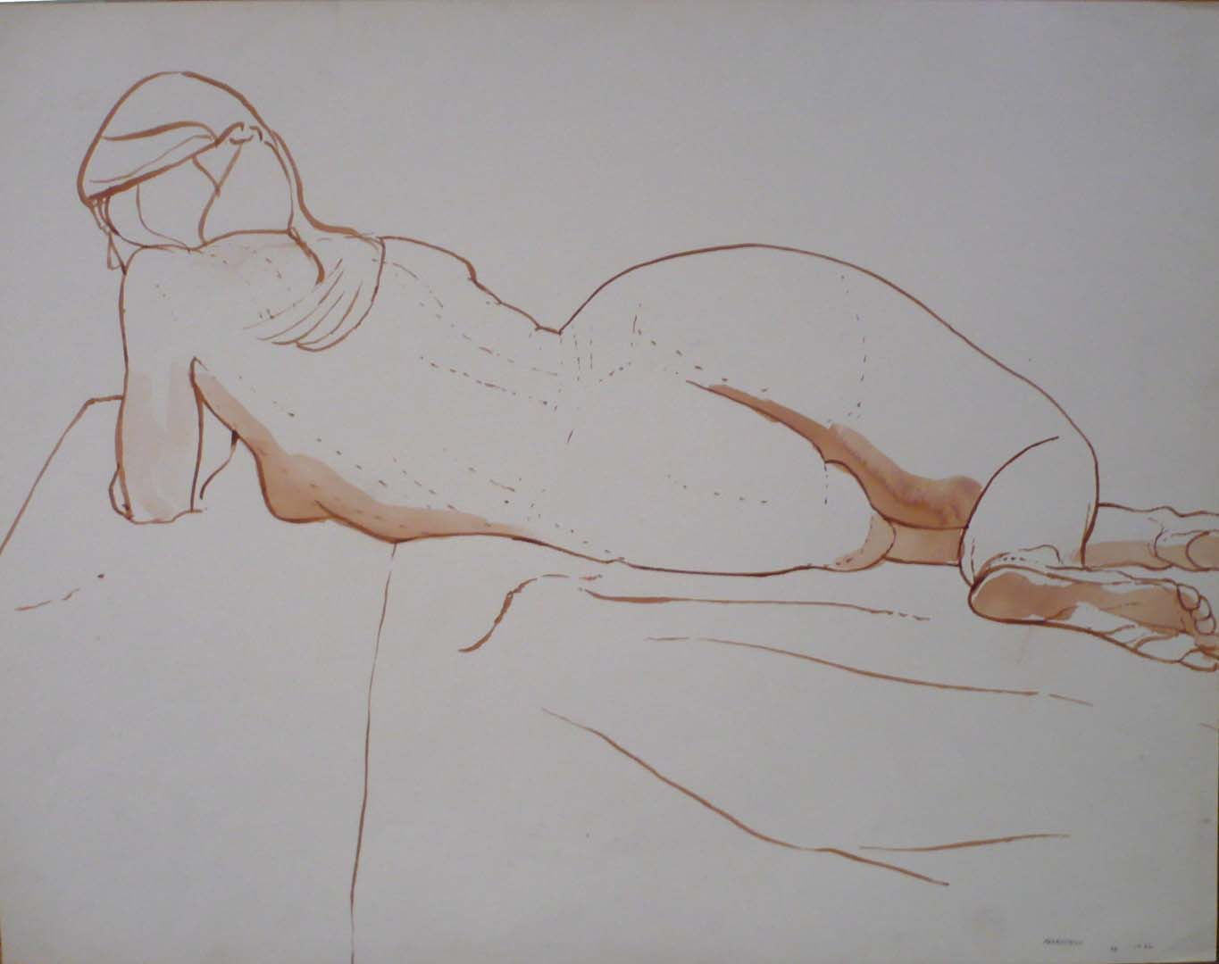 1966 Reclined Female Model Twisted Sepia 19.875 x 25.875