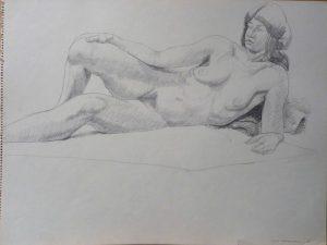 1966 Reclining Female Model Pencil 18 x 24