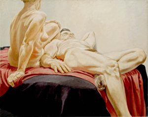 1966 Reclining Male and Female Nudes on Red and Black Drapes Oil on Canvas 48 x 60