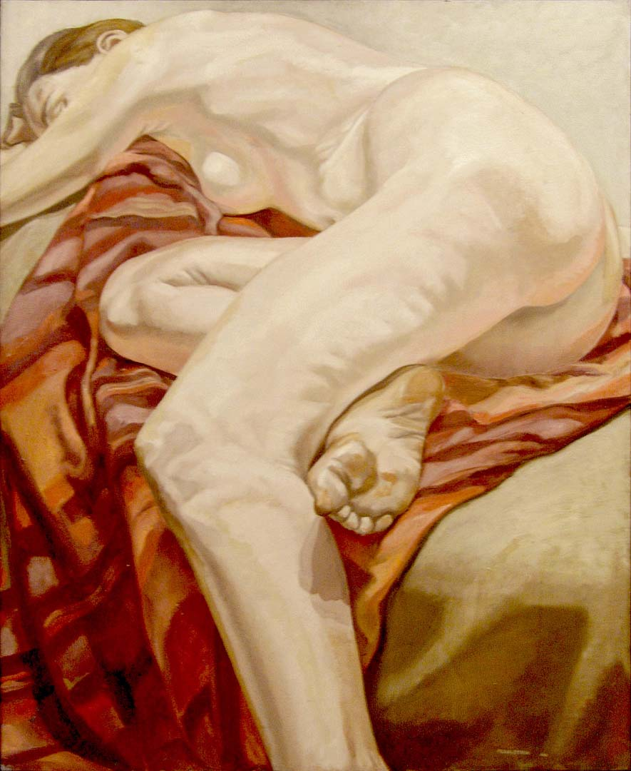 1966 Reclining Model on Striped Cloth Oil on Canvas 44 x 36