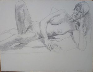 1966 Reclining Model with Head Resting on Hand Pencil 19.75 x 26