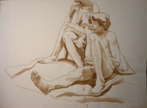 1966 Seated Nude Couple Sepia 22 x 29.875