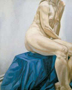 1966 Seated Nude on Blue Drape Oil on Canvas