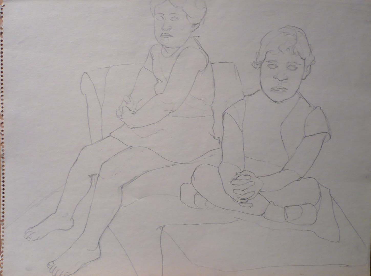1967 Drawing for Portrait of the Artist's Daughters Pencil 17.875 x 23.875