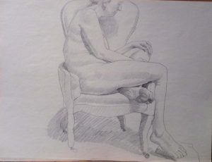 1967 Female Model Seated in Arm Char Pencil 17.875 x 23.625