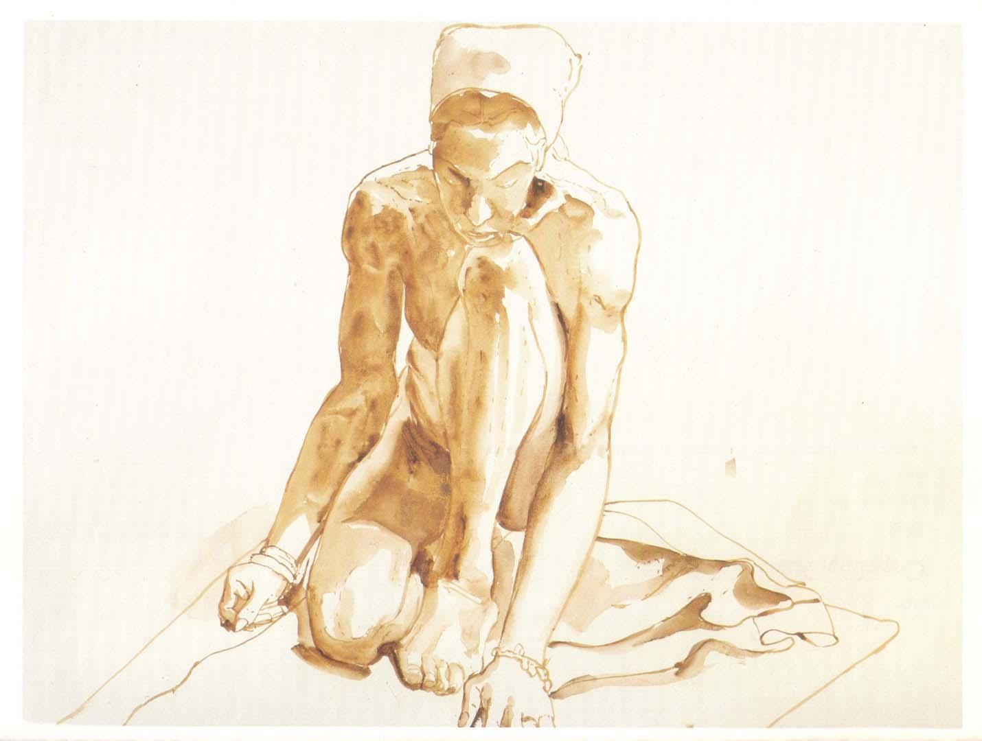 1967 Kneeling Figure Sepia Wash on Paper 22 x 30