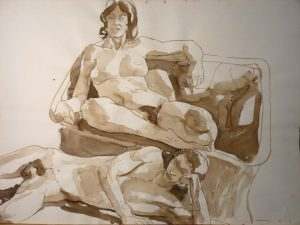 1967 Male and Female Models with Basket Chair Sepia 22 x 29.875