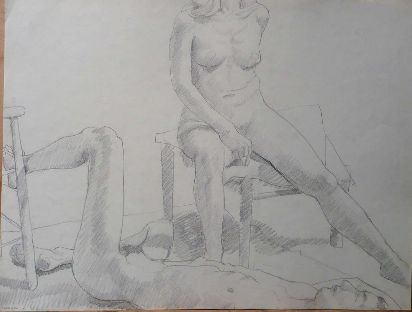 1967 Reclined Male Model and Seated Female Model Pencil 18 x 23.75
