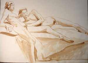1967 Reclining Female and Male Nudes Sepia 22 x 29.875
